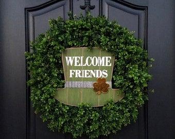 ST PATRICK DAY Decor, Shamrock Decor, St Patricks Day Wreath, Green Boxwood Wreath, Boxwood Spring Wreath