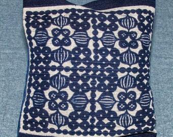 Handwoven Indigo Blue Square Throw Pillow, Cotton