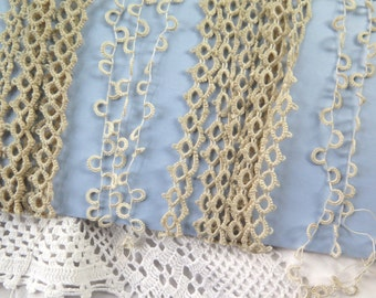 Vintage Tatted Lace Assortment in Cotton and Linen Scant 5 Yards Total