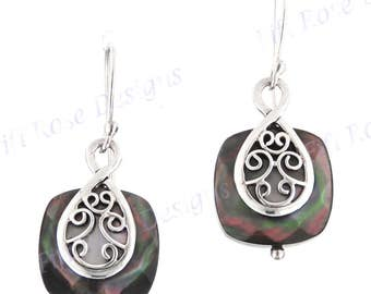 """1"""" Black Mother Of Pearl Shell 925 Sterling Silver Earrings"""