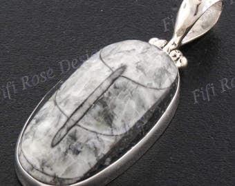 "1 5/8"" Genuine Orthoceras Fossil 925 Sterling Silver Pendant"