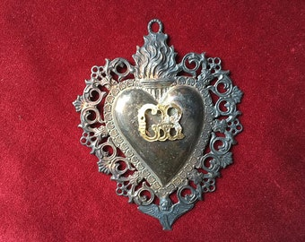 Antique french or Italian original religious silver plated ex voto flaming sacred heart with cherubs or angels pendant