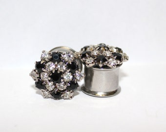 "Black and White Flower Crystal Wedding Plugs 1/2"" 12mm 13mm Double Flare"