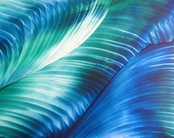 4X6 Blue Green Swirls Encaustic (Wax) Original Abstract Painting / Beeswax Art / Postcard Size Painting / SFA (Small Format Art)