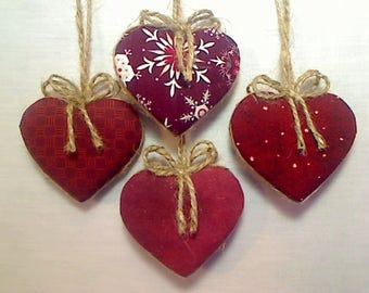 Cranberry/Burgundy Heart Ornaments  | Party Favors | Valentines Day | Holidays | Wedding/Bridal | Handmade | Tree Ornament |  Set/4 | #1