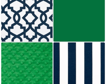 Modern Baby Boy Crib Bedding Kelly Green and Navy Blue Blanket Sheet Skirt Changing Pad Cover