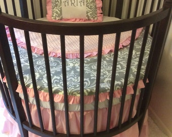 Round Crib Bedding Set Pink and Gray Damask Ruffled Made to Order Bumperless