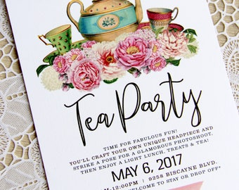 Tea Party Birthday Baby Shower Bridal Shower Girl Feminine Floral Wedding Invitation
