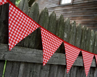 BBQ Birthday Bunting Banner, Red & White Gingham, Farm, Farmyard or Barnyard Party, Picnic Garland, Decoration -- fabric flags decor
