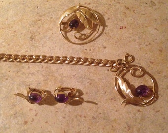 NEW Brooch With Matching Earrings and Bracelet by Sarah Coventry