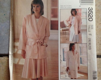 McCall's 3520 Size 16, 18, 20 Misses' Jacket and Skirt Pattern UNCUT
