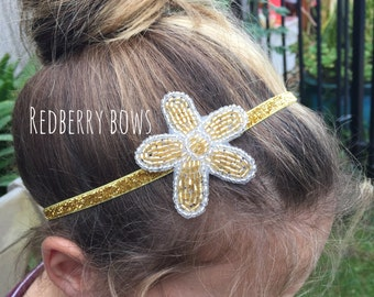 GOLD FLOWER SEQUIN On Gold Elastic Headband