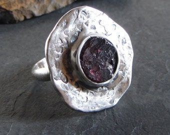 Sterling silver and rough garnet ring / size 7.75 / rough stone ring / statement ring / cocktail ring / large ring / artisan ring / unique