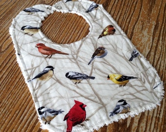 Chenille Back Baby Bib, Snap Closure, Backyard Birds