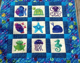 """Applique Baby, Toddler, Throw Quilt, 48"""" x 48"""" Size, Minky Back, Ready to Ship, Ocean Life"""