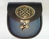 """6"""" x 6 1/4"""""""" x 2"""" Black & antique blue  leather Belt Pouch   steampunk Medieval sca Larp ren Costume kilt sporran"""