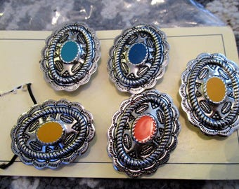 Vintage Western Express Button Covers Conchos Multi Color Silver Cowboy Cowgirl Southwestern