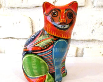 Vintage Talavera Mexican Pottery Cat Hand Painted Ceramic Folk Art Figurine Smiling with Teeth