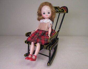Vintage Doll Furniture - Pennsylvania Dutch Style Painted Rocking Chair - Play Scale Size