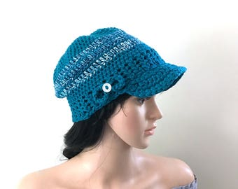 Zookeepers Daughter Brimster - Ballcap, Newsboy - 100% Cotton Yarns - in Teal, Variegated Teal with Bow and Button - women girls teen