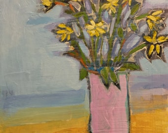 "Sweet Flowers - Original Acrylic Oil Encaustic Still life Painting - 9""x 12"""