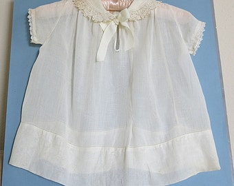 Hand Stitched Baby Dress Entredoux Batiste Fabric 1920s Lace Collar Heirloom Quality Vintage