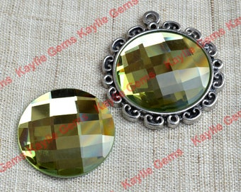 New - Mirror Glass Cabochon cab 25mm Round Checker Cut Faceted Dome -Citrine Yellow- 2pcs