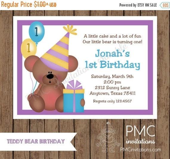 SALE SALE SALE Custom Printed Teddy Bear Birthday Invitations - 1.00 each with envelope