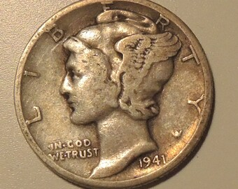 Vintage Mercury Dime 1941 D - World War II Dime - Collectable Dime - Silver Dime - USA Coins