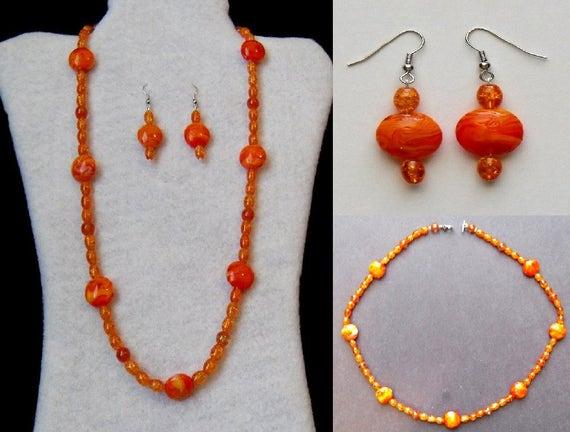 Necklace Set - Orange Swirl Necklace and Earrings