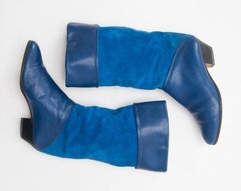 Vintage Blue Suede Boots, 1980s Italian Leather Boots, Pull On Boots, Low Heel, Woman's Shoes, Boots, Slouch Boots