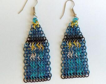 Chainmail TARDIS Earrings