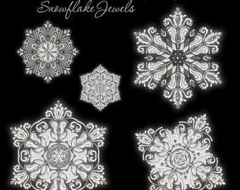 Christmas Designer Gems - SNOWFLAKE JEWELS - (5) Flat .png files - Photography Overlays For Your Photos and Quick Pages.