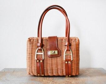 vintage wicker purse, 1960s woven straw basket purse, 60s rattan handbag