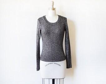 black lurex shirt, vintage 80s black metallic sweater, sparkle black and silver top, xs/small