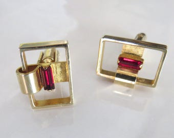 Vintage Hickok Cuff Links, Ruby Red and Goldtone, Open Rectangles with Garnet Color Stone Cufflinks