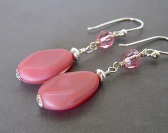 Pink Czech Glass Earrings, Rose Pink Table Cut Czech Glass Dangle Earrings, Pink Swarovski Crystal Sterling Silver Wire Wrapped Drop Earring