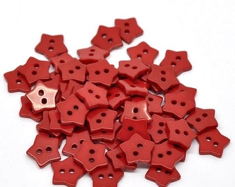 ON SALE 12 Red Star Resin Sewing Buttons or Scrapbooking 15x15mm - Valentine