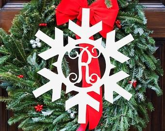 Personalized Monogram Wood Snowflake Sign Wreath