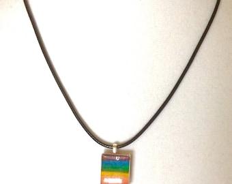 Rainbow lampwork pendant