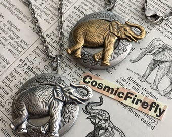 Elephant Lockets Necklace Set of 2 Vintage Inspired Victorian Animal Jewelry Mixed Metals Silver & Brass Includes Chains Special Price