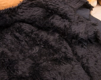 Mohair fabric for teddy bears, Intercal 785 H  color 124, Black, with thick curly fibers