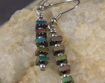 Hematite Colorful Stick Earrings
