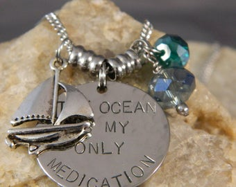 The Ocean is my Only Medication Necklace