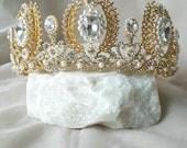 Gold Pearl Tiara, Gold Bridal Crown, Wedding Tiara