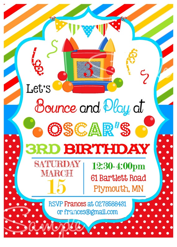 Bounce House Party Invitations Bouncy Castle Printable – Bouncy Castle Party Invitations