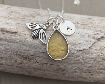 Sterling Silver Honey bee Necklace,  teardrop yellow Glass Charm with Sterling Initial, Personalized - honey yellow - insect jewelry