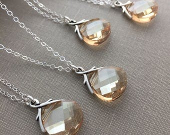 Bridesmaid Set of Champagne Swarovski Crystal Briolette and Sterling silver Necklaces, Golden Shadow - Bridesmaid Gift, Shimmering Crystal