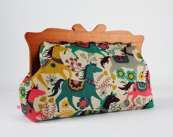 Clutch purse with wooden frame - Ponies in emerald and pink - Home purse / Japanese fabric / Horses / Green grey pink yellow mauve purple