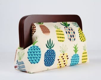 Wooden frame clutch bag - Pineapples on off white - Trip purse / Japanese fabric / blue green yellow grey blush brown pineapples